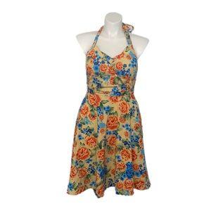 Lindy Bop Floral Halter Dress sz xl